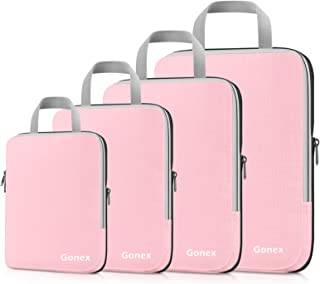 Gonex Compression Packing Cubes, 4pcs Expandable Storage Travel Luggage Bags Organizers (Pink)