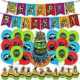 Decoración de Fiesta de Cumpleaños-Miotlsy 34pcs Tortugas Ninjas mutantes Adolescentes Party's Globos Decoraciones de Cupcakes, para Niños Party Supplies