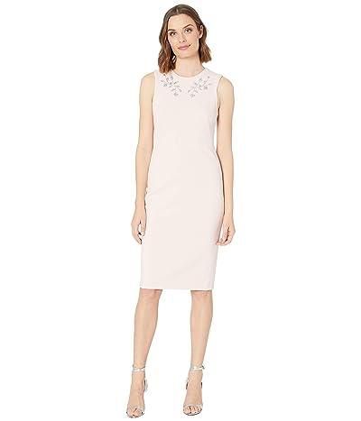 Calvin Klein Embellished Neck Sheath Dress (Petal) Women