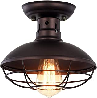 Industrial Metal Ceiling Light - Vintage Mini Cage Pendant Lighting Rustic Semi Flush Mounted Dome Shaped Ceiling Lamp for Kitchen Farmhouse Porch - Oil Rubbed Bronze
