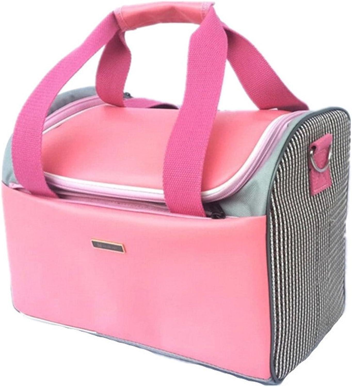 DESESHENME Pet Travel Bag Portable Dog Cat Travel Carrier Handbag Bag Puppy Carrying Backpack Mesh Shoulder Bags Pet Products,Pink34×20×26cm