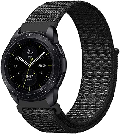Fintie Band for Galaxy Watch 42mm & Galaxy Watch Active & Gear Sport, 20mm Quick Release Nylon Sport Loop Smartwatch Replacement Strap Bands for Men and Women - Black