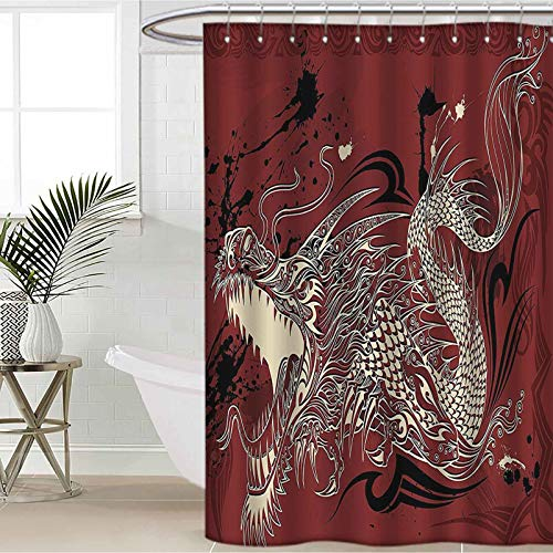 Dragon Shower Curtain Decor Set Angry Dragon Doodle on Grunge Background Japanese Mythology Ethereal Pattern Decorative Curtains for Bathroom Hotel Quality Ruby Ivory W72 x L72