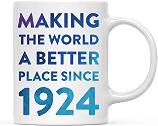 Andaz Press 11oz. Birthday Milestone Coffee Mug Gift, Making The World a Better Place Since 1924, Blue Watercolor, 1-Pack, 95th, 96th, 97th, 98th, Birthday, Anniersary