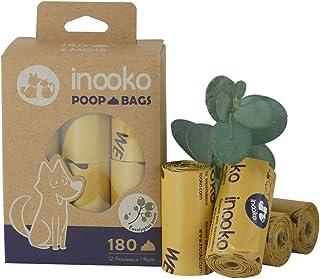inooko - 180 Sacs a Crottes pour Chien, Grand, Ultra Résistant, Biodégradables et Parfumés à l'Eucalyptus, 12 Rouleaux (So...