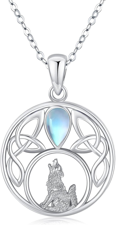 Wolf Necklace for Women Crescent Celtic Moon N Moonstone 返品不可 Pendant セール 登場から人気沸騰
