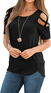 Sarin Mathews Womens Strappy Cold Shoulder Tops Casual Tees Loose Basic T Shirts