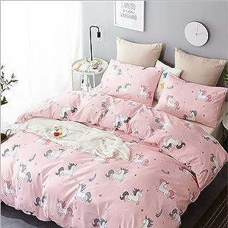 WINLIFE Unicorn Bedding Set Pink Girls Bedding Duvet Cover Set with Corner Ties Twin