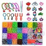 Keweni Loom Bands,1500 Bandas de Goma DIY Cintas de Telar Kit de Pulseras con Bandas de Telar Pulsera Collar Herramienta de Tejer para Niños Juguete