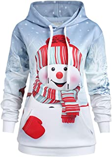 DongDong ☃Women's Gradient Hoodie Sweatshirt - Christmas Kangaroo Drawstring with Pocket Cartoon Snowman Print Top