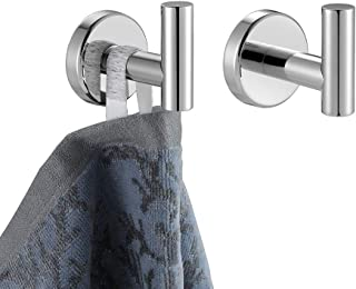 JQK Chrome Bathroom Towel Hook, 304 Stainless Steel Coat Robe Clothes Hook for Bathroom Kitchen Garage Wall Mounted (Pack ...