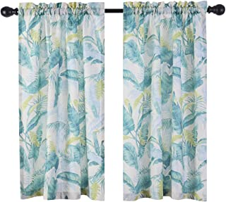 NEWUEBEL Green Plant Printing Textured Short Curtains for Kitchen Water Repellent Window Covering for Bathroom (36