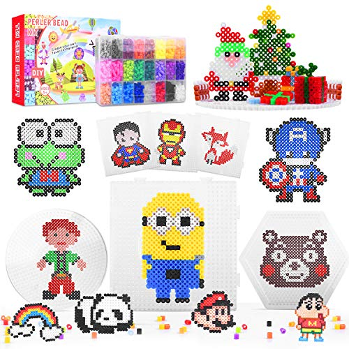 Fuse Beads, AUKUYEE 12000 pcs 5mm Fuse Beads Kit 24 Colors for Kids, Including 5 Ironing Paper, 3 Pegboards, Tweezers, Pattern Boards, Ironing Papers, Compatible Kit