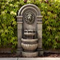"""John Timberland Lion Face Roman Outdoor Floor Water Fountain with Light LED 50"""" High 2-Tier for Yard Garden Patio Deck Home"""
