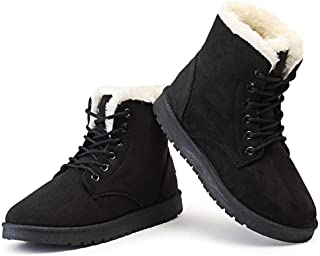 SUQIAOQIAO Classic Women Winter Boots Suede Ankle Snow Boots Female Warm Fur Plush Insole Boots Lace-Up