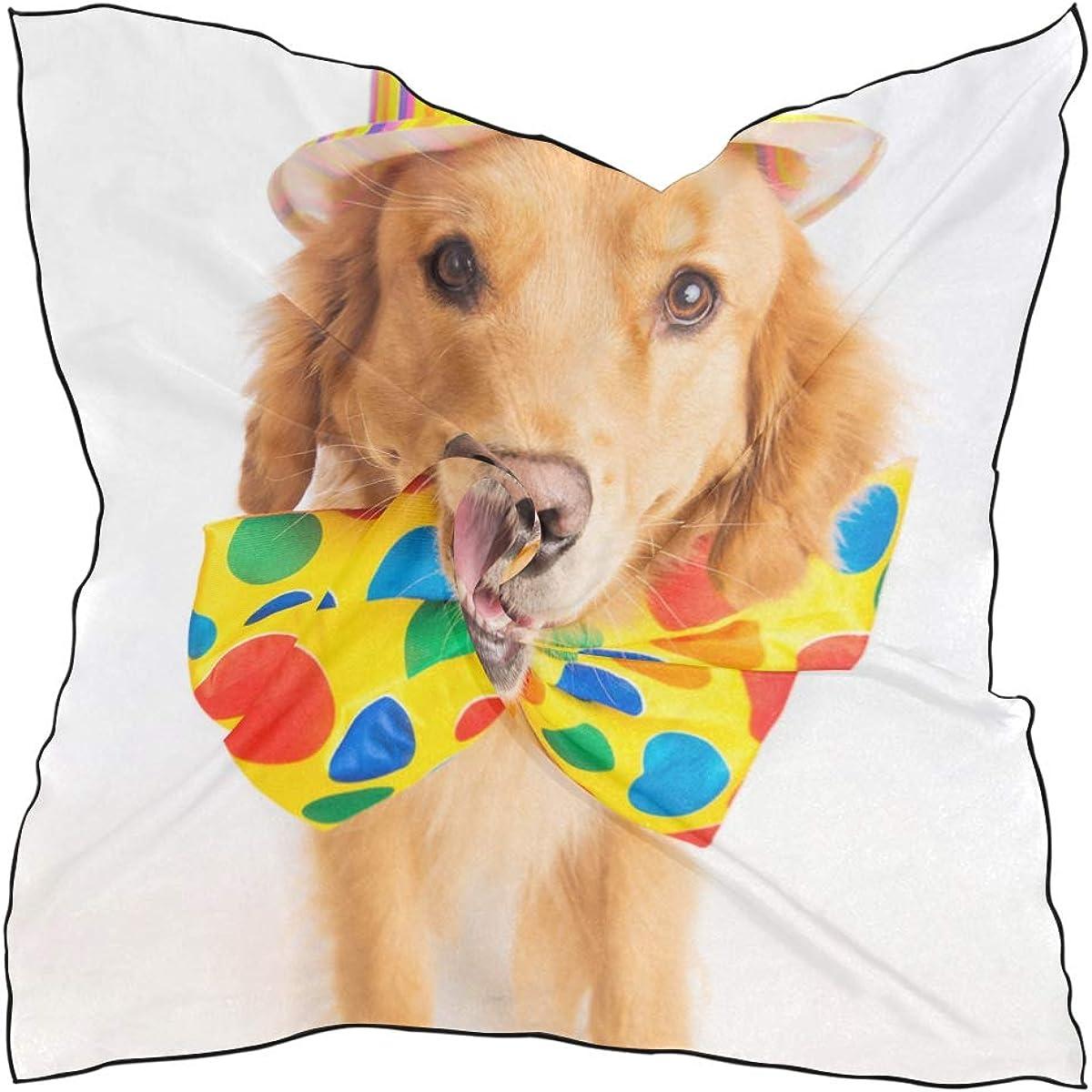 Soft Polyester Silk Straight Hair Scarf Fashion Print Cute Happy Dog Wear Tie Handbags Scarves Scarf With Hair Ladies Hair Scarf Multiple Ways Of Wearing Daily Decor