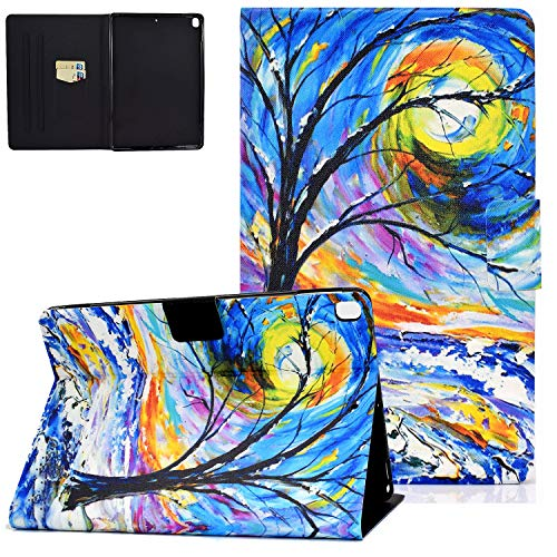 UGOcase iPad 10.2 Case 2019, iPad Air 3rd Gen 2019/iPad Pro 10.5 2017 Case with Card Slots, Auto Sleep Wake PU Leather Protective Folio Stand Shell for iPad 7th Generation 10.2' 2019 - Painting Tree