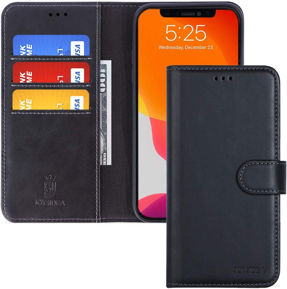 JOYSIDEA iPhone 11 Pro Leather Wallet Case, Premium PU Leather Slim Flip Folio Case with Card Holder, Kickstand and Shockproof TPU Cover for iPhone 11 Pro 5.8 inch, Retro Black
