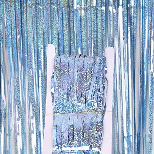 Mothcattl Fransenfolienvorhänge Metallic Lametta Vorhänge Für Geburtstag Hochzeit Abschluss Weihnachtsfest Party Foto Hintergrund Kulissen Dekoration Hellblau 1 mx 2 m
