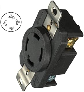 Generic 30 Amp Generator Receptacle Industrial Outlet NEMA L14-30R Receptacle Industrial Grade Grounding 125/250V Flush Mounting Locking for Generator Workshop Industrial Factory