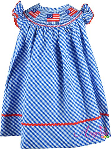 Baby Toddler Girls USA Patriotic America Flag Red White Blue Classic Bishop Dress 18-24M
