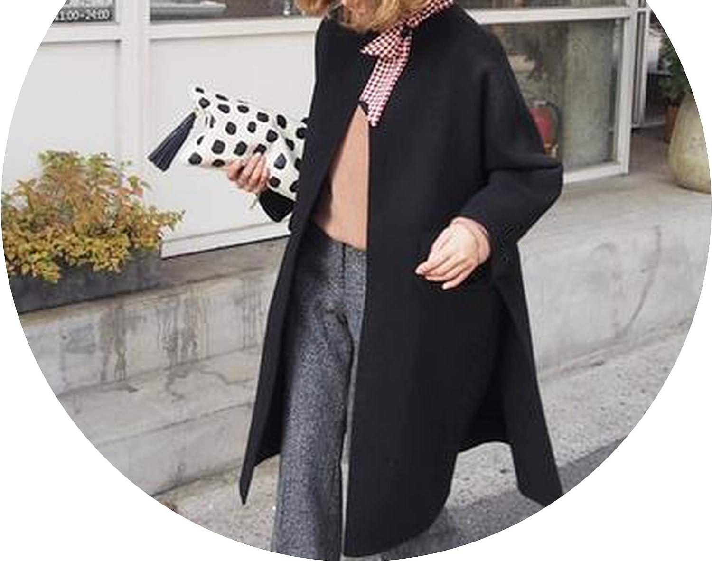 Dreamedge Long Cashmere Coat Female WideWaisted Mandarin Collar Wool Oversized Coats and Jackets Roupas