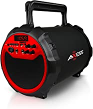 Axess SPBT1036RD  Portable Indoor/Outdoor Bluetooth Hi-Fi Cylinder 2.1 Speaker with..