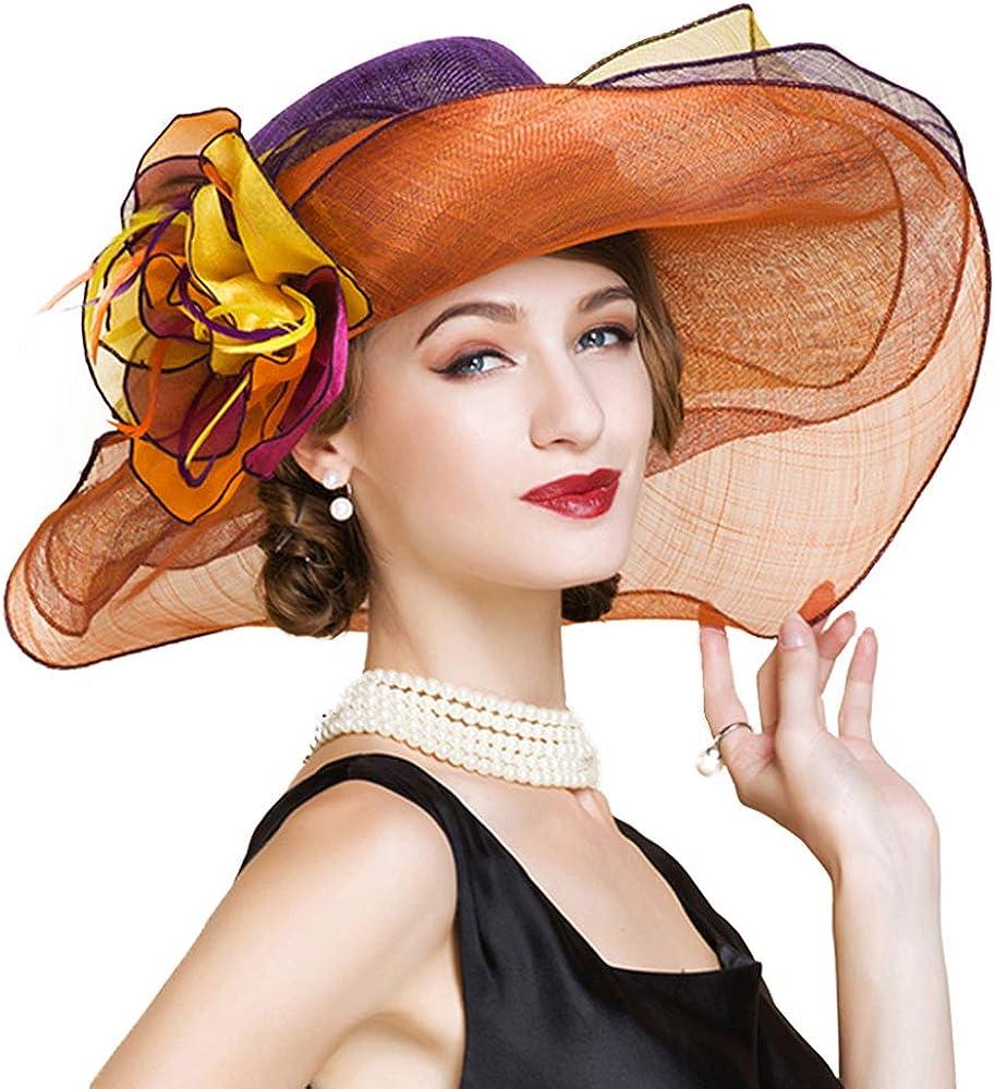 F FADVES Women Dress Fascinator Wide Brim Ruffles Derby Tea Party Wedding Sinamay Hats