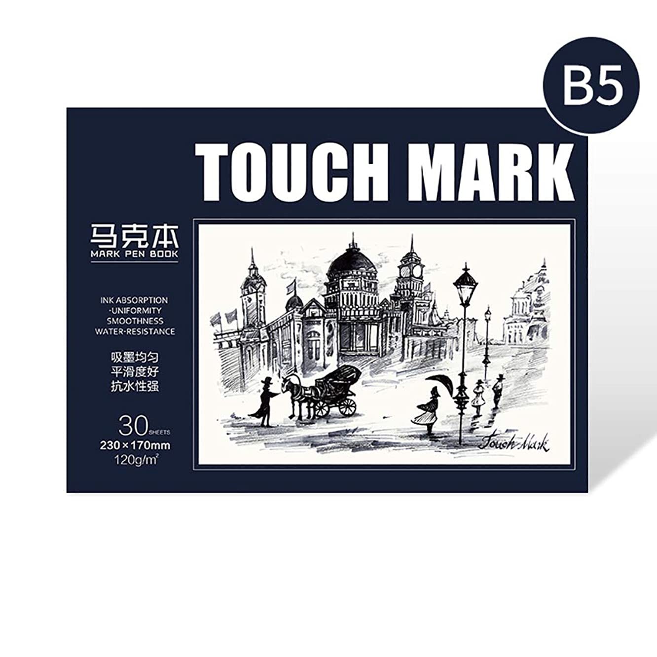 BUCOTA Touchmark Series Watercolor Paper Marker Pen Book Drawing Paper Sketchbook, 30 Sheets 0.4 lb, Mixed Media Uses 1pc