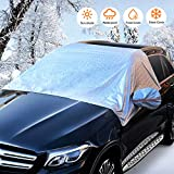 Car Windshield Snow Cover, Universal Sunshade Kit with Mirror Covers for Compact and Mid-Size SUVs, Anti-Theft Tuck-in Flaps, Snow, Ice, Frost, Waterproof Protection