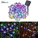 ELINKUME 50 LED Solar Blumen Lichterkette - 6.8M Wasserdicht Blumenlicht Außenlichterkette für Balkon,Garten, Zaun,Hochzeit,Party (RGB)
