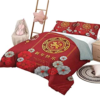 Year of The Dog Soft Microfiber Bed Sheets Bedding 3-Piece Twin Bed Sheets Set, New Year Pattern with Chinese Motifs on Scales Background Comfortable Hotel Bedding Vermilion Yellow and White