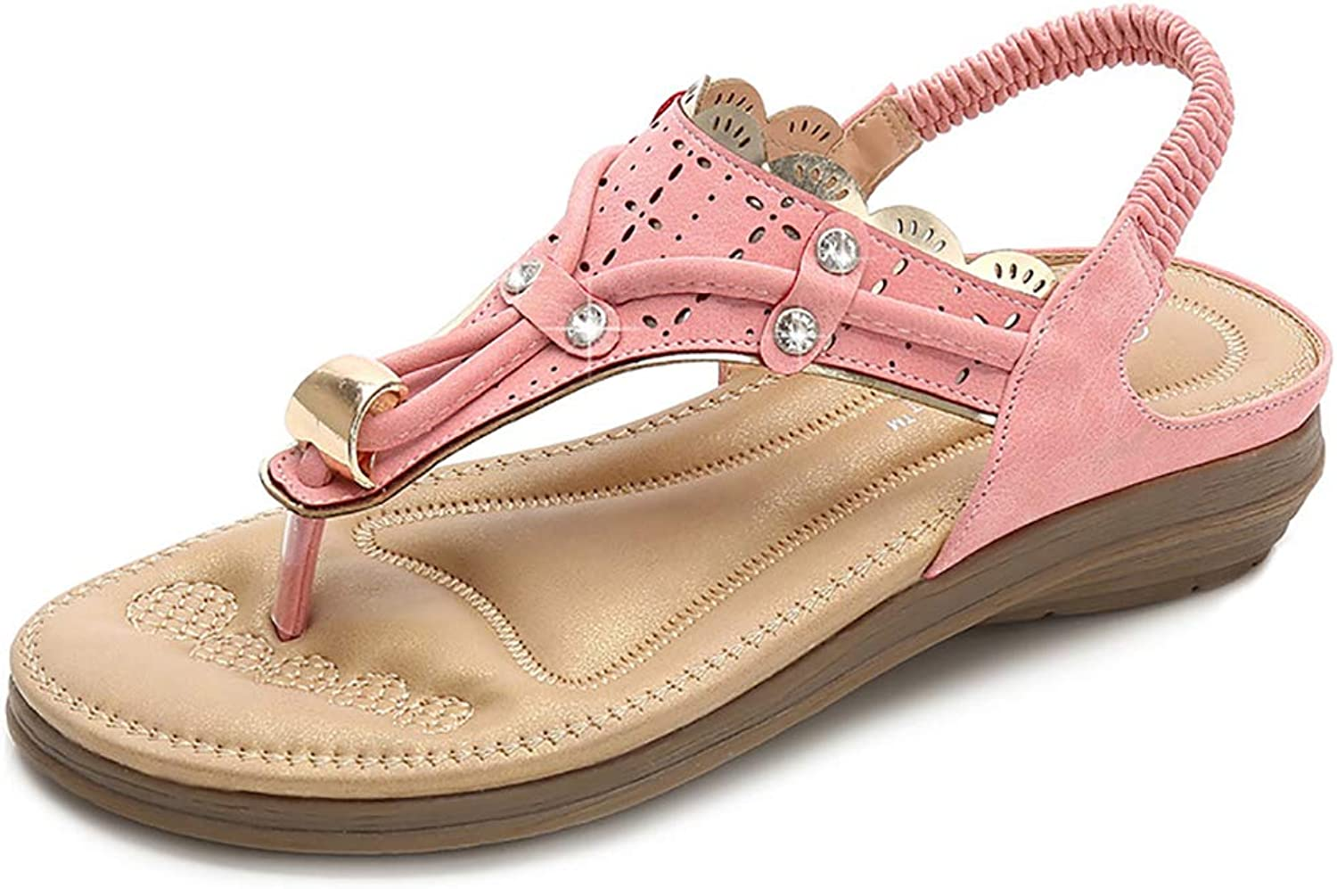 Women Summer Low Flat Heel Flip Flop,Sandals Bohemia shoes with Rhinestone Thong Sandals,Women's Orthotic Sandals