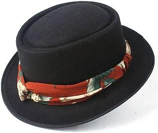 2019 Mens Womens Hats Unisex Men Women Flat Top Hat Autumn Fashion Winter Pork Pie Hat with Ribbon Porkpie Church Fascinator Jazz Hat Lady Flat Hat Fedora Hat Size 56-58CM