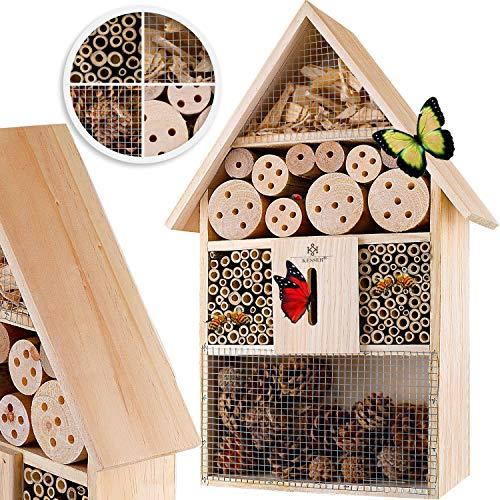 KESSER® Insektenhotel aus Holz mit Spitzdach - Naturbelassenes Insekten Hotel für Fluginsekten - für Bienen Marienkäfer Schmetterlinge Fliegen Insektenhaus Nistkasten Brutkasten Hotel - Zum Aufhängen