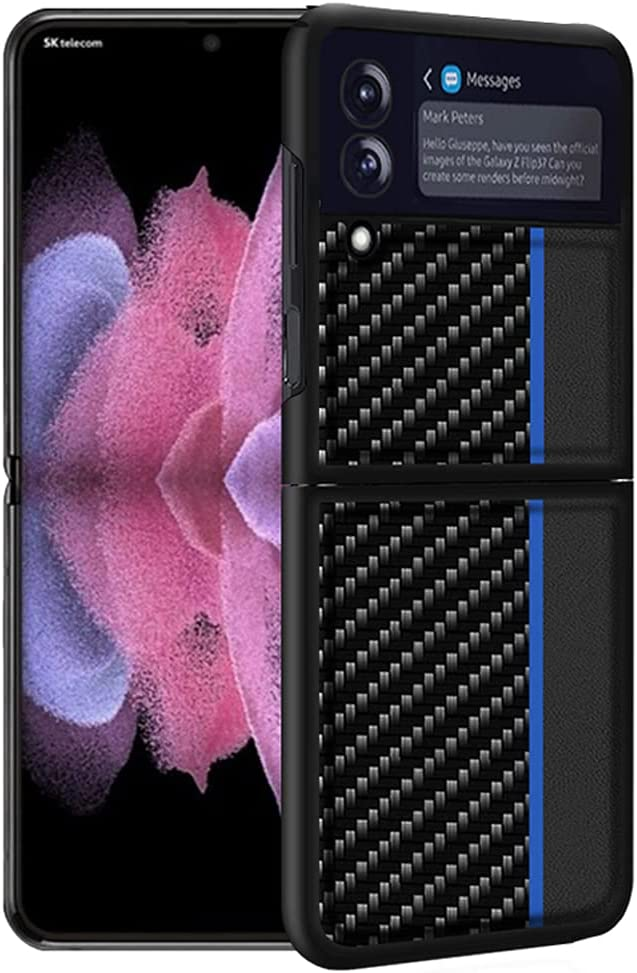 Ranyi for Samsung Galaxy Z Flip 3 5G Case, Slim Fit Carbon Fiber Texture Case Shock Absorbing Full Body Protective Flexible TPU Rubber Bumper Case Cover for Samsung Galaxy Z Flip 3 5G 2021 Blue