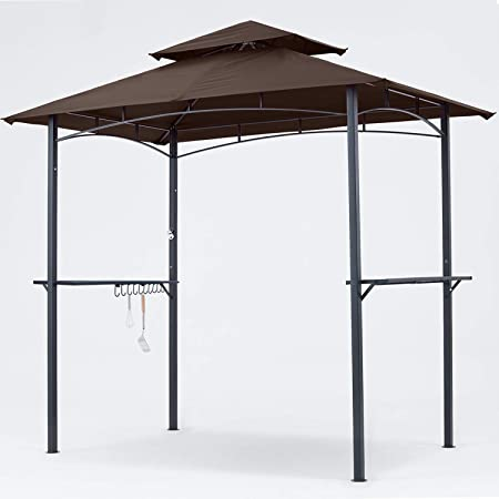MASTERCANOPY Grill Gazebo 8 x 5 Double Tiered Outdoor BBQ Gazebo Canopy with LED Light (Brown)