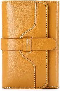 Simple Wallet Women Elegant Lady Girl Buckle Design Minimalist Leather Classic Trifold Short Purse (Yellow)