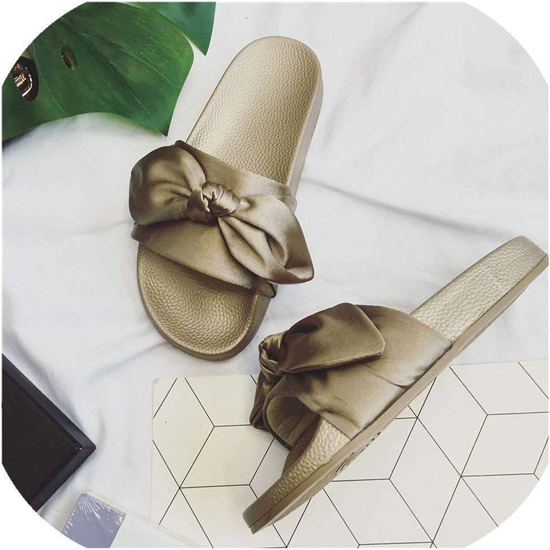 Silk Bow Slides Women Slippers Sandals Pink Flat Brand Beach shoes Rihanna Casual,