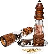 YNester Salt & Pepper Grinder Set Wood Salt Pepper Mill Ceramic Adjustable Coarseness Cooking Gadgets 2 Pcs (Wood Pepper Grinder)