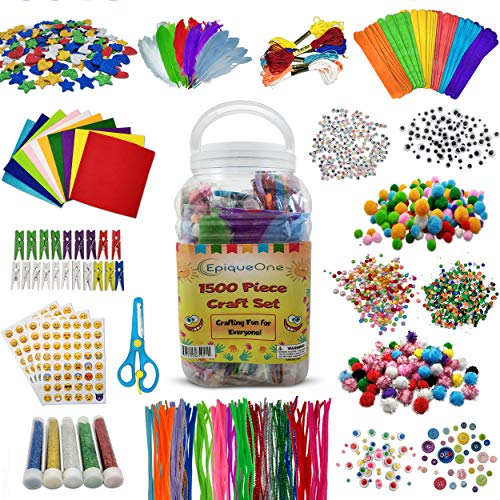 EpiqueOne 1500 Set of Bulk Craft Accessories for Kids - Art Supplies for Children, Toddlers, Classrooms, Large Assortment of Crafting Materials for School Projects, DIY Activities-Promotes Creativity
