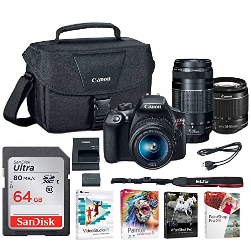 Canon EOS Rebel T6 DSLR Camera with 18-55mm and 75-300mm Lenses and Bag + 64GB Memory Card and Software Bundle