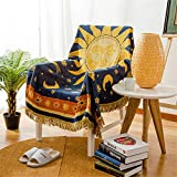 Sun Moon Stars Boho Throw Blanket for Couch, Cotton Linen Jacquard Reversible Blue Yellow Double-Sided Woven Aztec Bed Couch Throws Soft Oversized Chair Sofa Cover with Tassel (Sun, Small: 71x51)