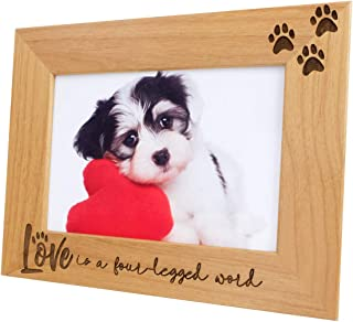 Love is a Four-Legged Word-Natural Wood Engraved Pet Picture Frame with Glass,Dog Picture Frame,Cat Picture Frame,Dog Mom,Cat Dad,Paw Print,Pet Memorial Picture Frame,Pet Lover Gift(5x7 Horizontal)