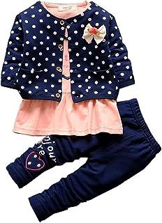BOBORA 3PCs Ensmeble Bebe Filles Enfants Polka Dots Manteau + Chemise + Leggings Pantalon 0-4Ans
