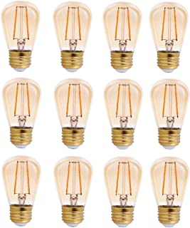 TriGlow T98853-12 (12-Pack) LED 2-Watt (25W Equivalent) S14 Amber Glass Bulb, 2200K (Amber Color), 150 Lumens, E26 Medium Base Light Bulbs
