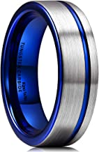 King Will Mens Tungsten Carbide Wedding Ring Classic Engagement Band for Men Women Blue/Rose Gold/Black