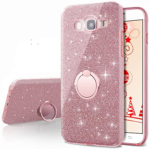 Galaxy J5 2016 Case,(not fit J5 2015),Silverback Girls Bling Glitter Cute Case with 360 Rotating Ring Stand, Soft TPU Outer Cover + Hard PC Inner Shell Skin for Samsung Galaxy J5 Duos J510 -Rose Gold