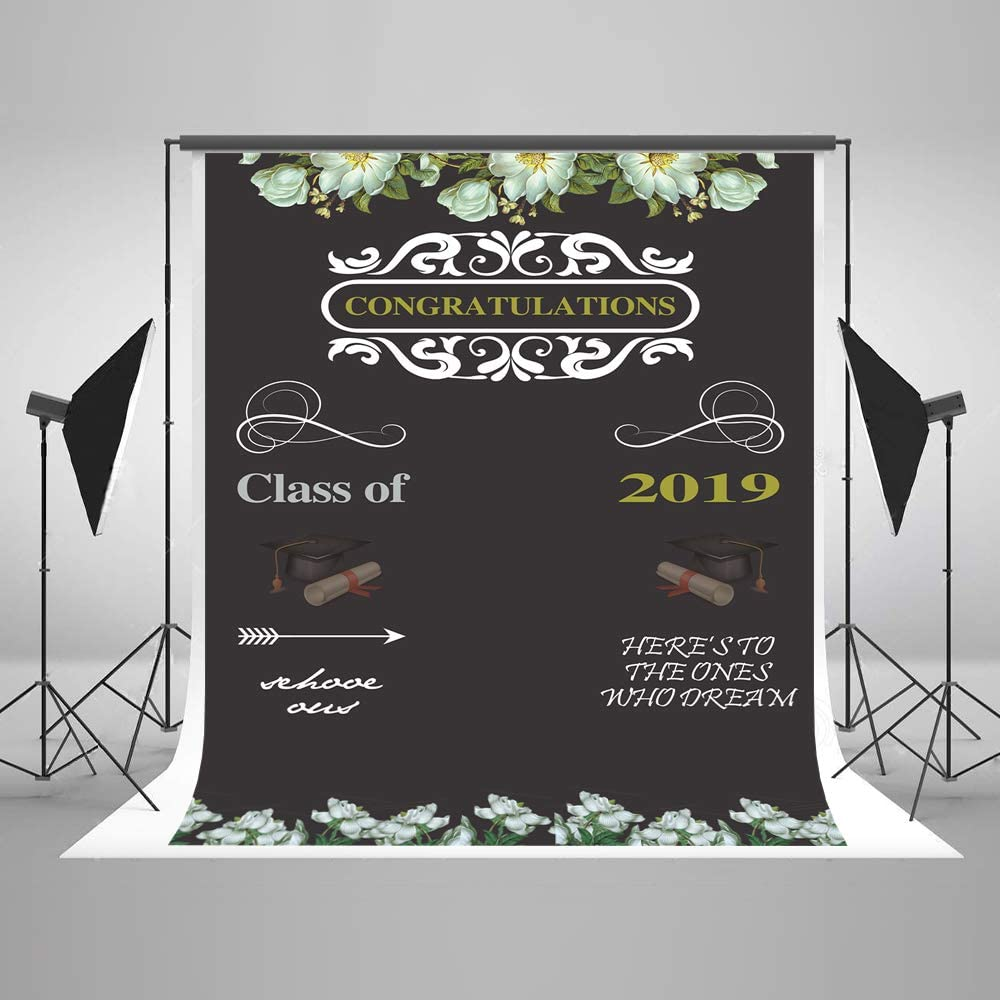 H 150x220cm x7ft W 5ft Class of 2019 Graduation Party Backdrop for Photography Decor Photo Booth Prop Fabric Seamless No Crease Background Holiday Party Backdrops