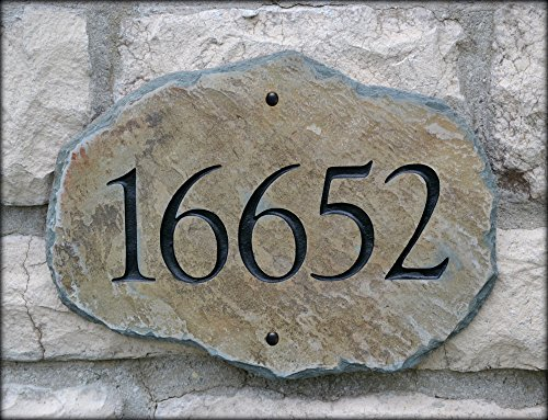 House Number Address Stone / (Carved Slate Marker) Mailbox Plaque #4S